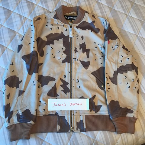 buy online 2d80f ffd01 ... Supreme Leather MA-1 Jacket In Desert Camo (Rare) size Very - Depop ...