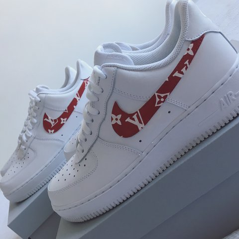 e7d84e21c908 150 DM to order Air Force 1 customised with red and LV a - Depop