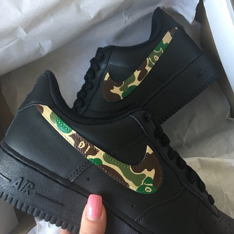 2badec840c8bdd 140 DM to order Nike Air Force 1 custom painted with bape - Depop