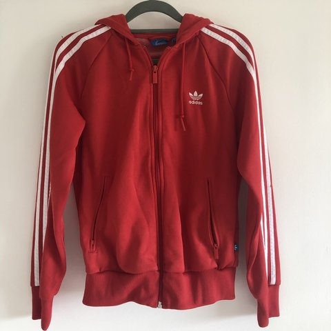 269b7a36dc0a Red and white Adidas 3 stripe zip up Size: 10 however I'm - Depop