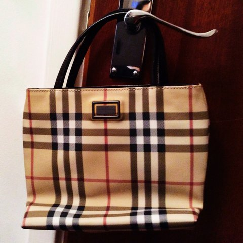 3453bc07a143 Authentic Burberry Tan Nova Check Mini Tote. Adorned with at - Depop
