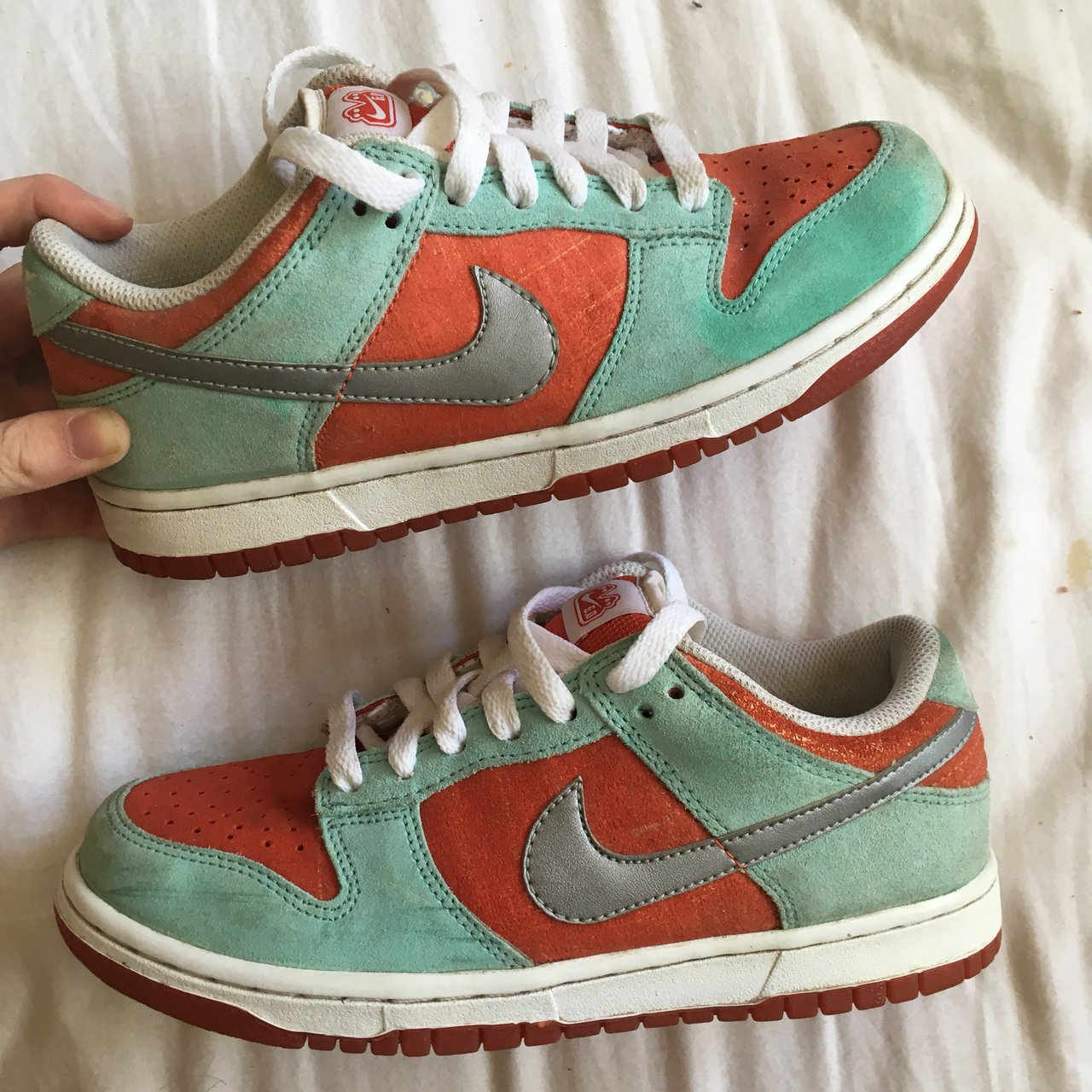 Green   Turquoise and Orange Nike Dunk Low Trainers    UK    - Depop 358c91154