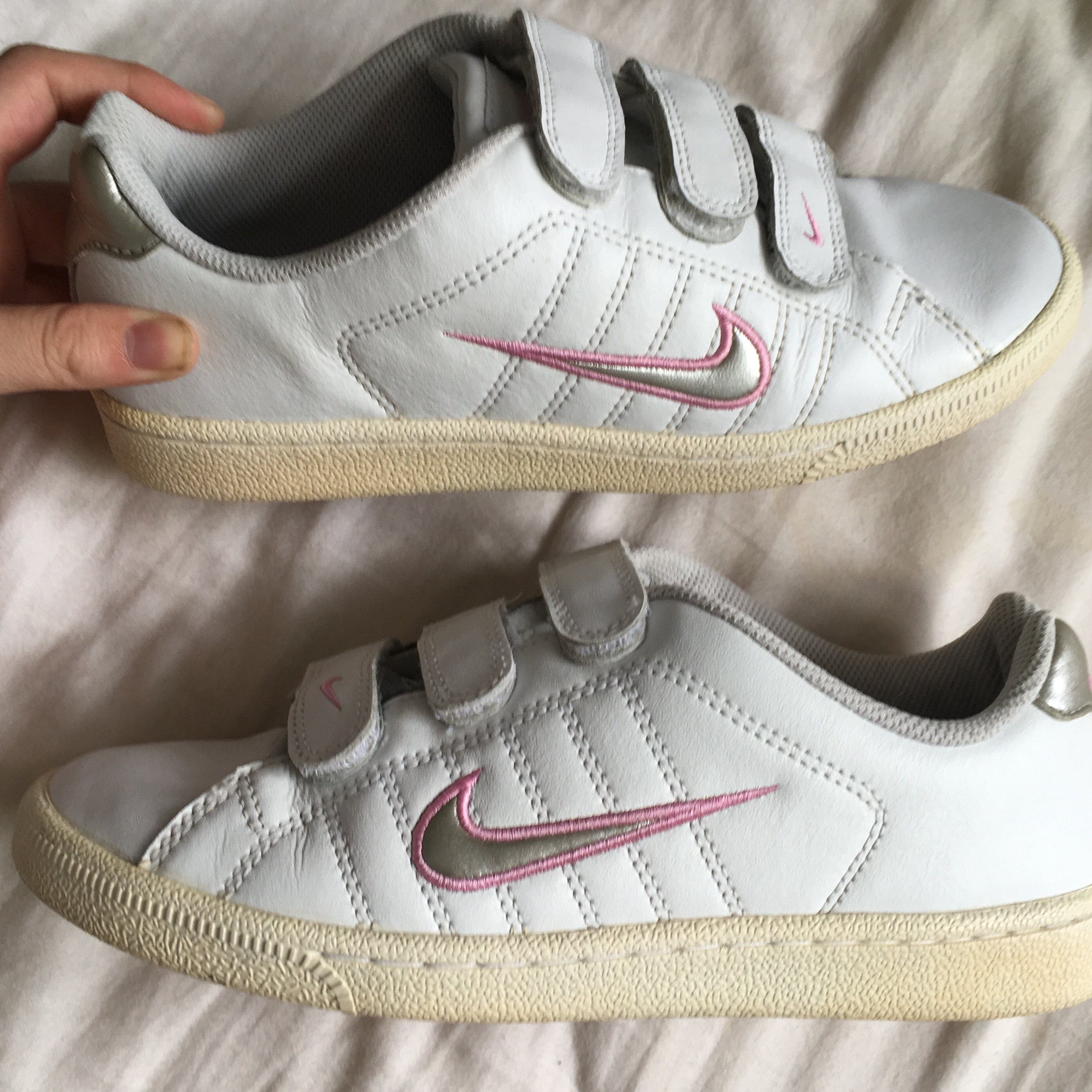 White Nike Trainers with Velcro straps