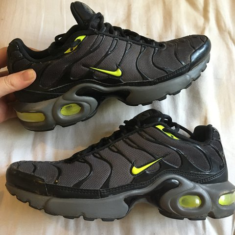 new concept 19a08 60ea1 Black / grey and fluorescent yellow / green Nike TN... - Depop