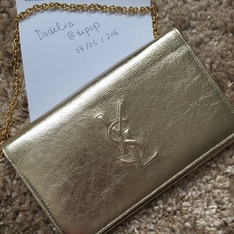 215560b1545d 100% authentic  YSL classic wallet on chain in  gold ✨ this - Depop