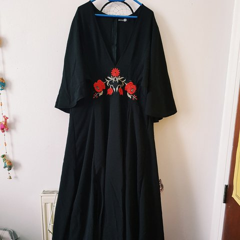 7f6a0949c3 Beautiful black embroidered maxi dress with a deep V neck. a - Depop