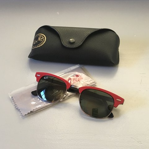 c757d09c008 RARE) RAYBAN RED FRAMED CLUBMASTER SUNGLASSES   Ray ban Red - Depop