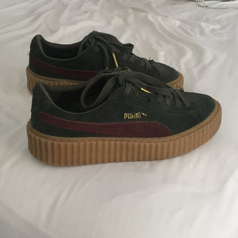 Rihanna Puma Creepers. Burgundy and Green with gummy sole. 7 - Depop a1abbdf7d