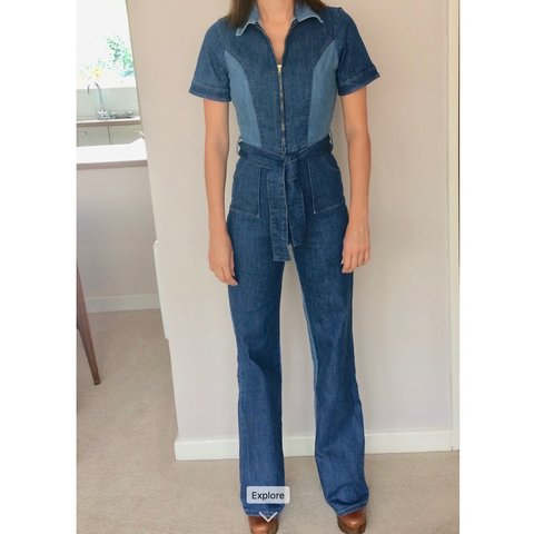 2195a5093 Stoned Immaculate Blue Jean Baby Jumpsuit in M. Size M     - Depop