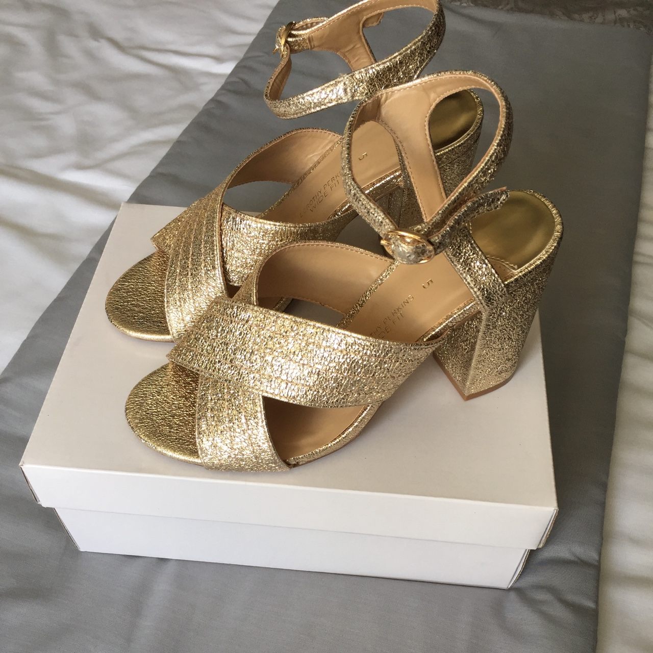 Gold wide fit block heeled sandals