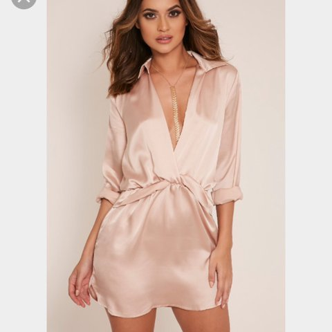 62833934972 Selling this Katalea Champagne Twist Front Silky Shirt Dress - Depop