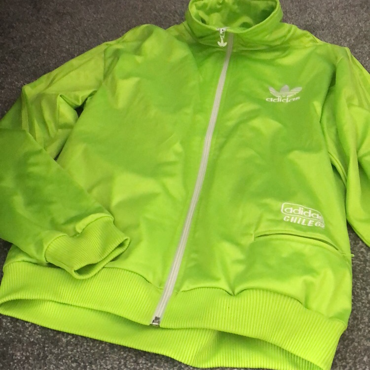 Adidas neon green jacket Worn but still in good Depop