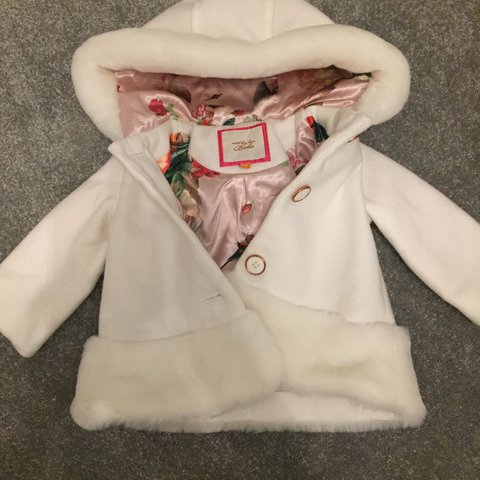 a06ae418e924 White with fur trim baby girls ted baker coat 3-6 months. on - Depop
