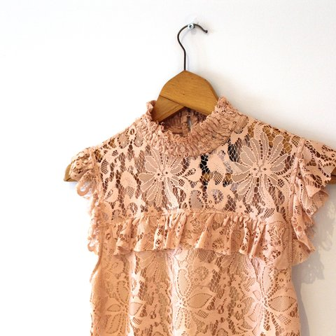 6c214f2a8bfce Topshop high neck pink lace top. Never worn and still with - Depop