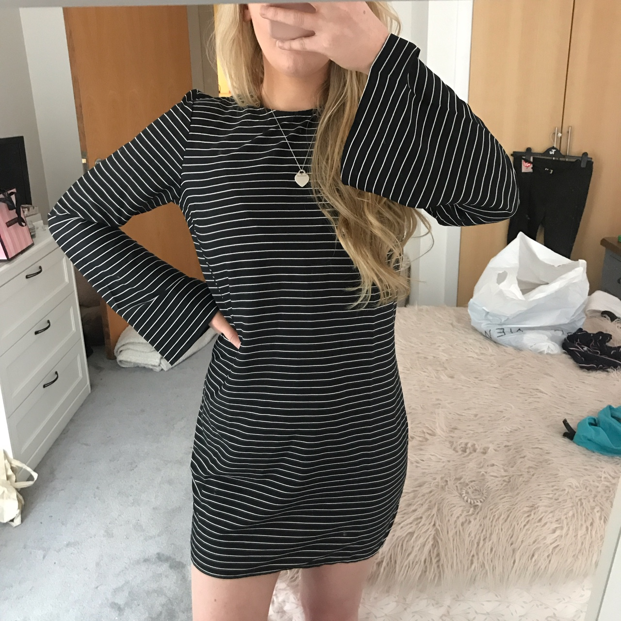 70s style black and white striped dress