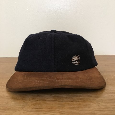 10e64aae1bc Vintage 90s Timberland Weather Gear Navy Wool Strapback Hat - Depop