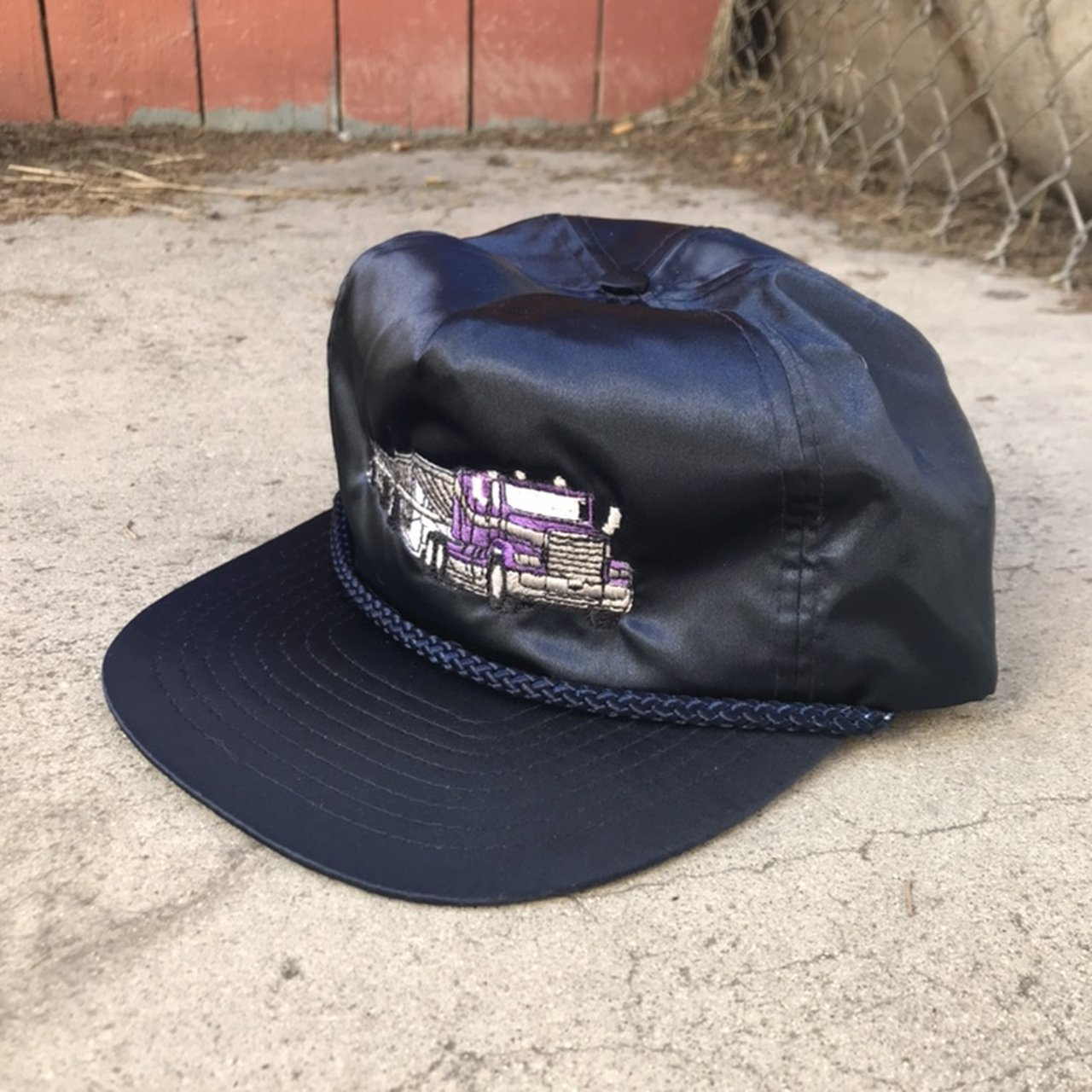 Vintage Nissin nylon cap with purple truck embroidered on a - Depop 017175c39d87
