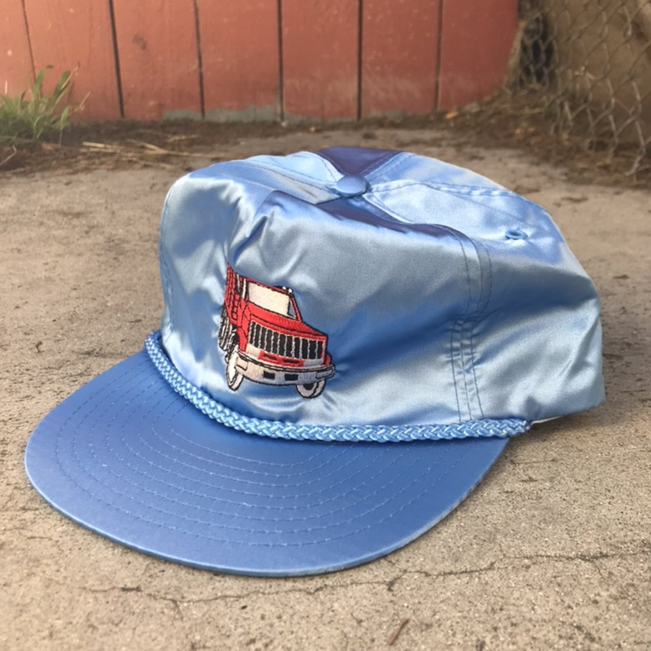 Vintage Nissin blue trucker hat with red truck embroidered - Depop 80166d550f8c