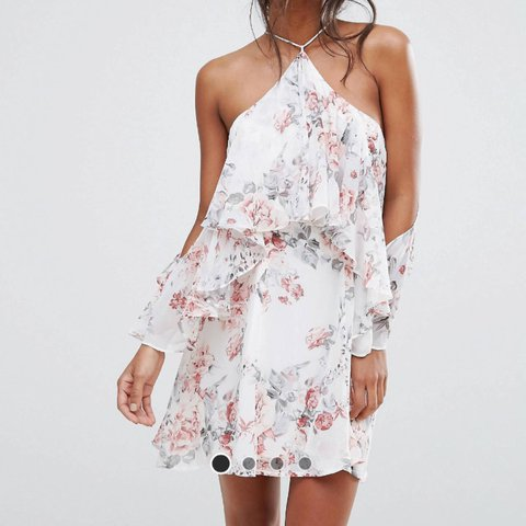 76bc1a389b77 @lwilldenx. 6 months ago. Gravesend, United Kingdom. Size 10 Boohoo Asos Floral  cold shoulder ruffle grill dress.