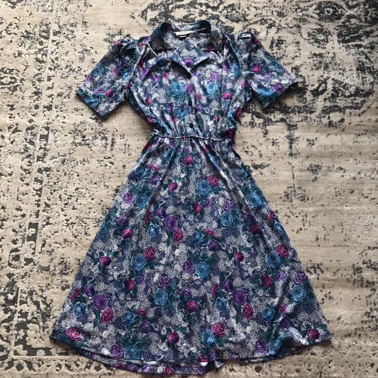 3b2371229fd0 Adorable Vintage Blue Flower Spring Dress with buttons • is - Depop
