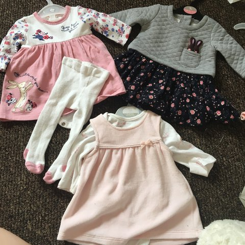 fb6b51472 3 adorable baby girl dresses. First 2 from Sainsbury s and 1 - Depop