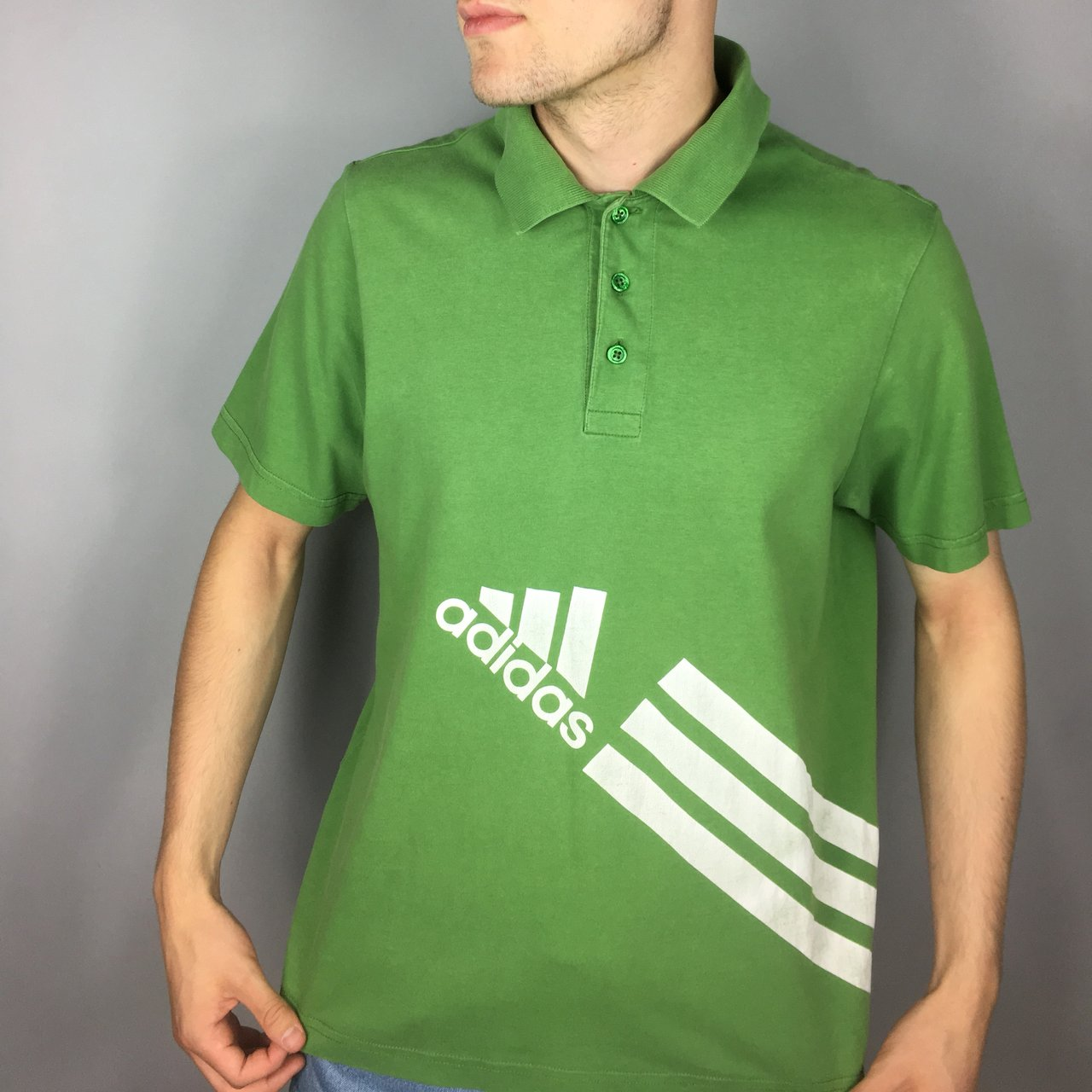 12964e1db294 Vintage Adidas Polo Shirt With Big Logo Size Says And A Depop
