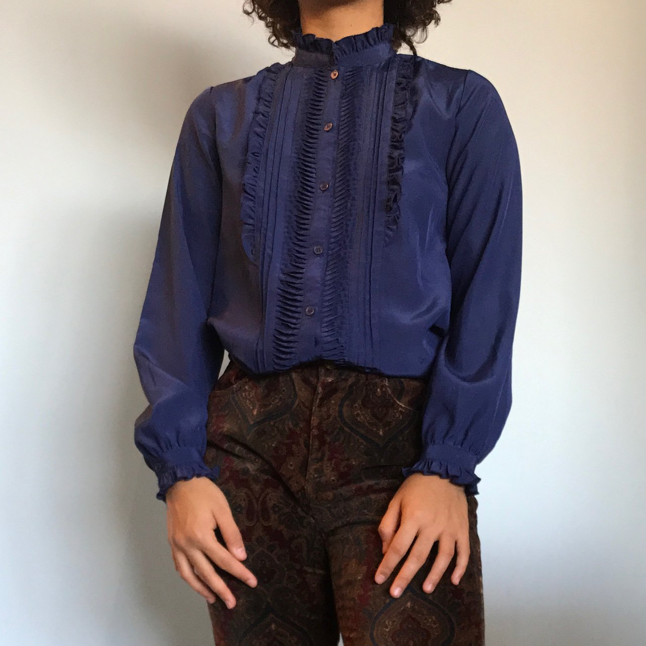 ba2cc67d @nofayes. last year. Long Beach, United States. Vintage navy blue button  down blouse. Very cute and in great ...