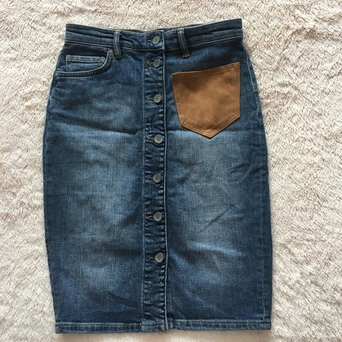 Allsaints denim skirt with suede pocket. Brand new but tag - Depop bf9582357