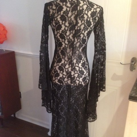 Perfect for Halloween! Vintage 80s lace maxi dress 8fad64022