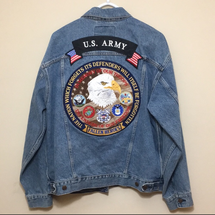 VINTAGE Levi Denim Jacket with U S  Army patches and
