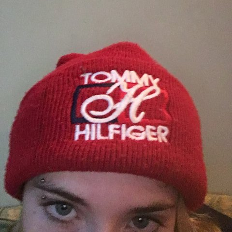 Rlly cool Tommy Hilfiger red beanie hat - Depop 3ca8daaa38a