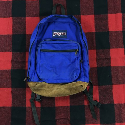 Vintage Jansport leather bottom backpack. Bold blue with a - Depop ea313efb59f26