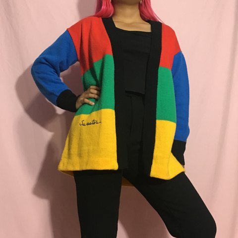 121adebf9f ADORABLE VINTAGE primary colored cardigan sweater by love im - Depop