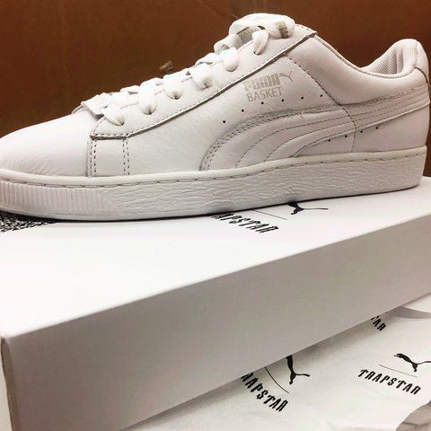 Brand new Puma x Trapstar collab Basket White shoes with box - Depop 218dca04f