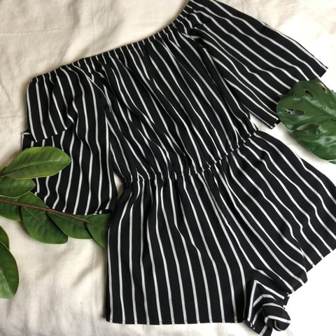 8f92847be50 ambiance apparel striped off the shoulder romper • size is - Depop