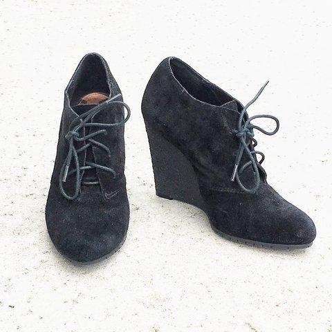 6fde27d95 Sam Edelman black suede wedge booties. Size 6.5. Perfect No - Depop