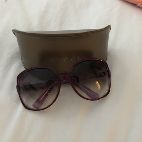 1a62bf1a4bb1b Gucci sunglasses Metal and purple enamel Two tone with case - Depop