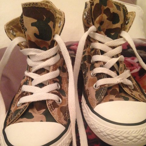 c499024cb7e3 Size 13 camo camouflage army print converse high top boots. - Depop