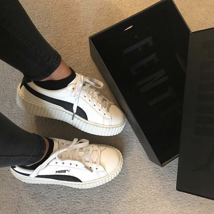 online retailer 0a7f3 0d7ec Rihanna Fenty Puma creepers. White leather and... - Depop