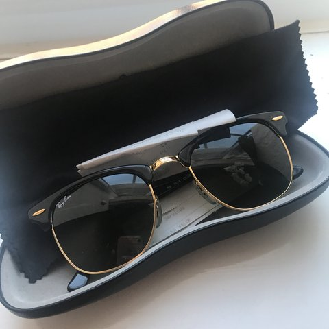 0300b4e464471 Rayban clubmaster black and gold sunglasses. Brought from in - Depop