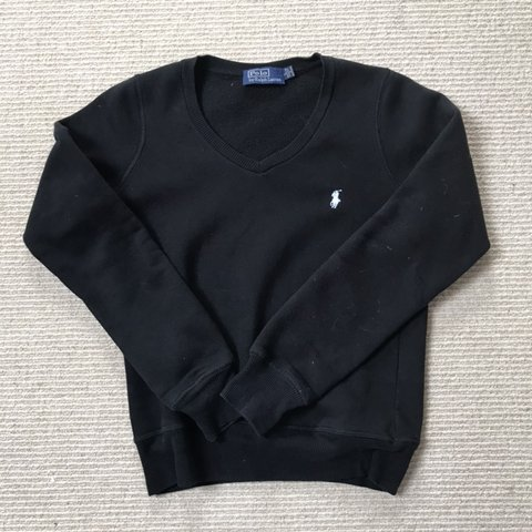 27c2e29a4 POLO Ralph Lauren v-neck jumper   sweater Black!! Women s on - Depop