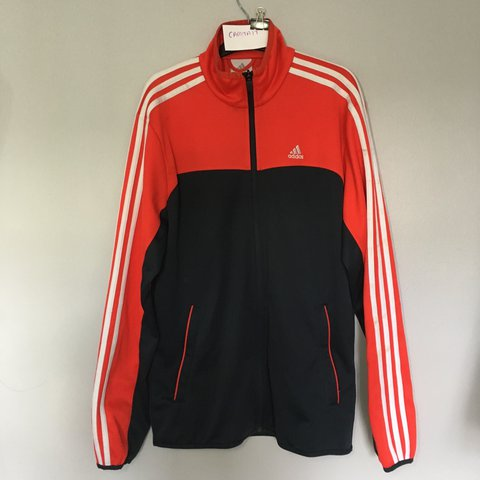03210ff67202 Adidas Track Top Red and Grey  Navy - Size is an S - 8 10 a - Depop