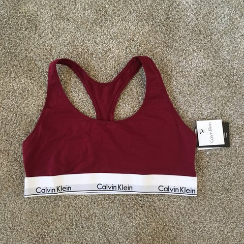 948c283c0dce @zapkap. 8 months ago. New York, United States. RARE, NEVER WORN wine  colored classic CALVIN KLEIN sports bra, NEW WITH TAGS.