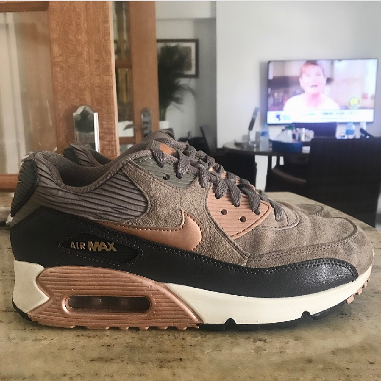competitive price 1b155 cbbca Nike Air Max 90 Rose Gold Women's Trainers. Size 5,... - Depop