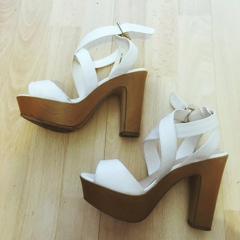 f689967b7ee White and wood effect new look platform strappy heels. Size - Depop