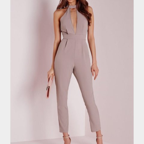 16a8acab8519 Missguided plunge jumpsuit. Taupe. Size 6 but would fit an - Depop