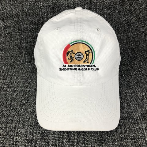 12b5a4794d580 Vintage Shooting   Golfing Cap - White - Embroidered Velcro - Depop