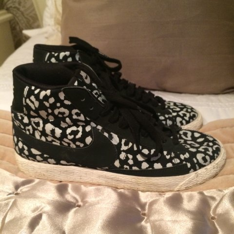 9e3a62d5529 Limited edition black and white leopard print Nike Blazers. - Depop