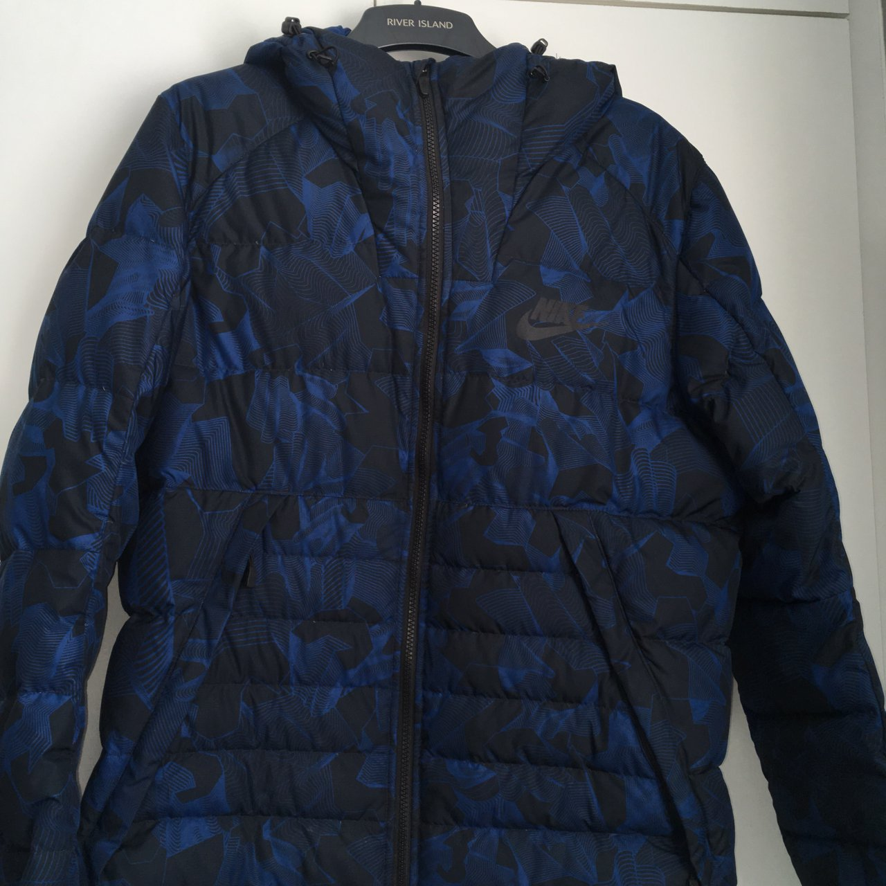 Nike Camo Puffer Jacket. Black Dark blue. Bought for £90. No - Depop bc250eaa0