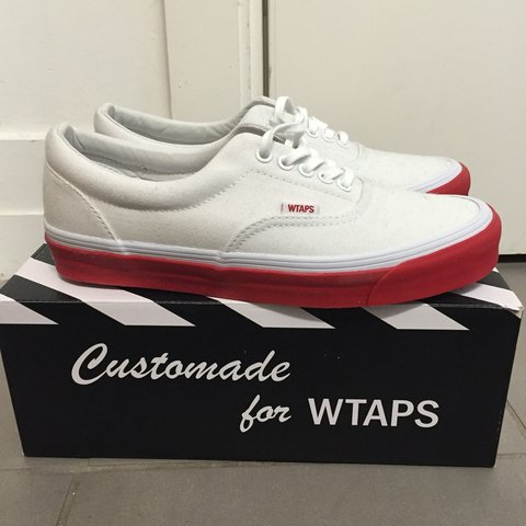 fdf90ac989bb Vans x WTAPS collab all white with red sole size 8UK. Never - Depop